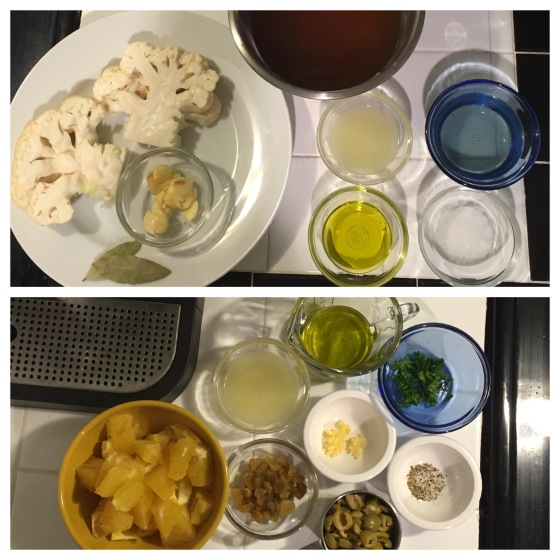 mise en place - top: cauliflower steaks; bottom: olive pistou