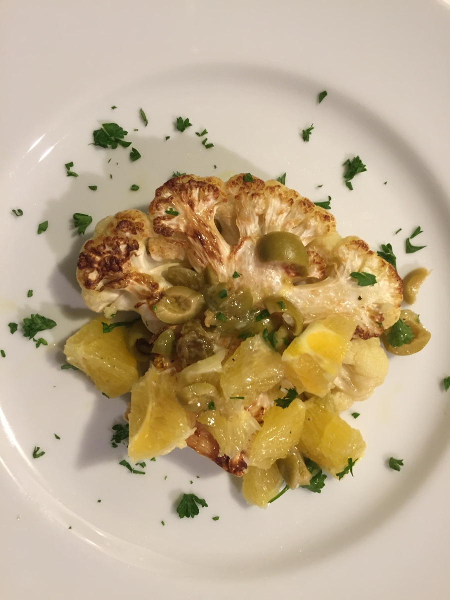 "Cauliflower ""Steaks"" with Olive Pistou"